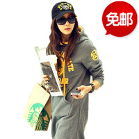 2013 plus size clothing hooded letter pullover all-match plus velvet long design sweatshirt