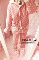 Christmas gift : small rabbit polka dot cotton-padded berber fleece sleepwear lounge set 2