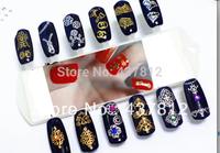24pcs/Lot 12 Designs Gold Cross Nail art foil sticker tip for DIY Nail salon Free shipping