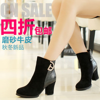 Weinstein winter new arrival cowhide fashion thick heel high-heeled boots martin boots women's shoes 0813