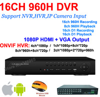 Free Shipping+16ch Real time full 960H D1cctv dvr recorder HDMI 1080P Output hybrid DVR NVR for IP camera video recorder
