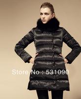 DHL/EMS SITI 2013 new  fashion black red fox collar XXL coat women/female  jacket brand long down duck thickening parka