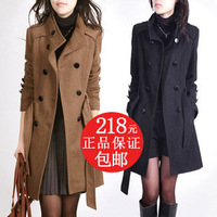 2012 autumn and winter women double breasted slim stand collar woolen outerwear female medium-long woolen overcoat