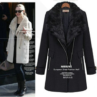 2013 autumn and winter wool overcoat women's fashion medium-long large fur collar woolen outerwear