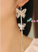 2103 New arrive Korea style Fashion princess butterfly  long tassel drop earrings charm long earrings. Free shipping.3 color