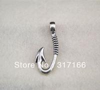 free shipping 10pcs a lot antisilver color fishhook necklace pendant(H232)
