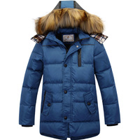 2013 new down coat big boy medium-long down thick fur collar outerwear kids warm jacket black,blue,green free shipping