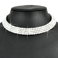 Min Order $5 (Mix Order) 4 Rows Wedding Necklace Statement Necklace Crystal Rhinestone Necklace CZ Necklace Free Shipping