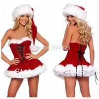 Tee Dress 2014 2013 Christmas dress DS dancer costume Performance sexy girl clothing set  nightclub stage Uniform temptation