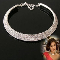 Min Order $5 (Mix Order) 3 Rows Crystal Rhinestone Necklace Bride's Wedding NecklaceFree Shipping