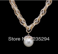 Hot Sales!! Korean Style High Quality Elegant Necklace Multi-layer Small Pearl Knitted Chain Big Pearl Pendant Sweater Necklace