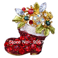 New Arrival Gold-Toned Festive Christmas Boot Crystal Brooch Pin  For Chrismas Party