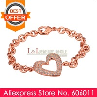 Min 10 piece/lot New Design Rhinestone Crystal with 18K Rose Gold Plated Bracelet B030, Free Shipping