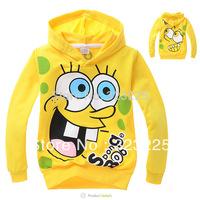2014 Retail Children's sweater boy's long sleeve hoodies autumn Kids Spongebob hooded sweatshirts fashion outwear  Free shipping