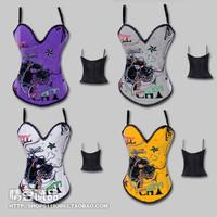 Fashion cartoon lion print pattern shoulder strap royal shaper waist abdomen drawing bra vest