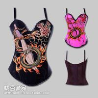 Fashion cartoon chinese dragon print pattern shoulder strap royal shaper waist abdomen drawing bra vest