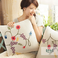Free shipping Embroidered sofa cushion set lu embroidery rustic fluid cushion cover embroidery fluid fabric pillow
