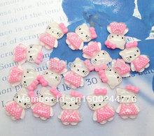 50Pcs Resin Cute Pink Cute Cat Kawaii Cabochons Flatback Scrapbook Fit Phone Embellishment  28x18mm(China (Mainland))