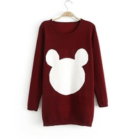 Mickey face winter new printing long section of thick long-sleeved pullover sweater (AC30)