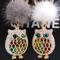 Owl mink fox fur ball car keychain women's rhinestone key chain gift bag
