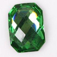 90pcs/lot Hot Sale Green Color Faceted Resin Sew-on Flatbacks Embellishments Rhinestones 25*18*7mm 241132