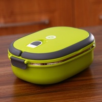 2014 High-grade stainless steel sealing insulated lunch box 0.9L 21*15*6.5cm free shipping