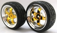 Free shipping 4PCS RC model  car parts tires and rims 1:10 Car On Road 12 Spoke Plastic Wheel Rim & Drift Tyre