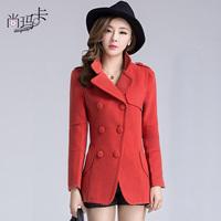 2013 women's woolen material outerwear woolen trench medium-long slim waist slim