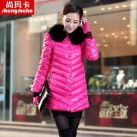 2013 winter down coat female long design slim fox fur large fur collar lace ol outerwear