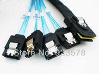 [DHL FREE SHIPPING!] WHOLESALE 50pcs/lot High Quality 4 SATA 7pin RAID Cord to Mini SAS 4i SFF 8087 36Pin BackPlane Cable 1m