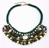 high quality 2013new brand fashion luxury vintage dark green woven crystal bib choker statement necklace for women length 45cm