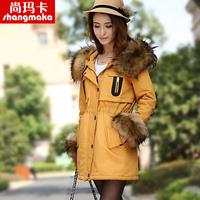 New arrival 2013 large fur collar wadded jacket cotton-padded jacket slim medium-long Women cotton-padded jacket winter