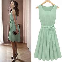 happy SZ Free Post!  European and American trade Sleeveless Pleated Dress Slim