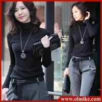 Korean Spring Women Turtleneck Lycra T-shirt 12colors Long sleeves Slim fit sexy base shirt Tops Tees Plus size undershirt S-3XL