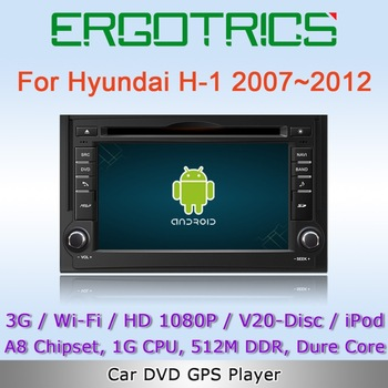 Android 4.0 3G WiFi Car DVD GPS Sat Navi Headunit For Hyundai H1 Starex Satellite Libero H200 iMax with IPOD Free Wifi Adapter