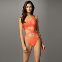 Women Ladies  Sexy Region Bandage HL Swimsuit Paris Beachwear Swimwear Bikini Orange Beachwear