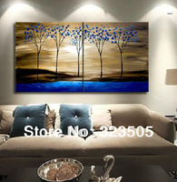 2 panel Abstract modern wall art canvas unframed abstract blue tree oil painting on canvas for living room free shipping to  USA