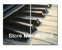 2 panel Abstract modern wall art canvas black and white music piano art oil painting on canvas  for living room  free shipping