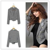 Free Shipping Plus Size 2014 New Casual Womens Long Sleeve Blazer Jacket One Button Stripe Tops Long Sleeve Short Outwear Coat