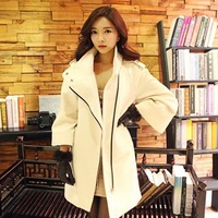free New 2013 Autumn and winter medium-long wool coat female slim flare sleeve woolen outerwear woolen coat women Wool & Blends