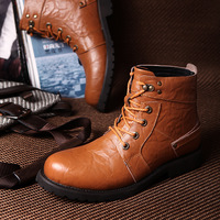 Men Motorcycle Boots Martin Boots Male Shoes the Trend Tooling Casual Thermal Boots Plus Velvet Thermal Cotton-padded Shoes