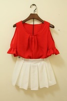 2013 xiaxin one-piece dress red strapless chiffon shirt culottes set