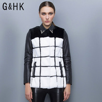 Ghk high quality 2013 female black and white checkerboard slim sheepskin rex rabbit hair fur coat g3017