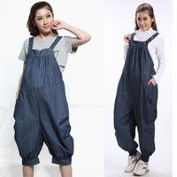 Plus Size XXL Long Trousers 2014 Autumn Fashion Gravidas Cotton Denim Maternity Bib Pants Casual Jeans Pregnant Women Overalls