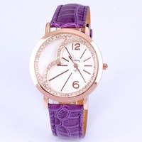 Hot sale relogios fashions imitation diamond setting rose gold printed case pu leather watch women quartz analog free shipping
