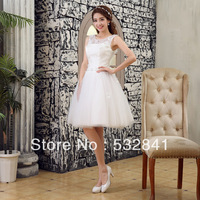 2014 short design bride princess strap puff Bridesmaid dress