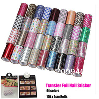 Free shipping New Fashion Transfer Nail Art Foil Stickers 6pcs/set ,66colors 4*100cm rolls SKU:13112001