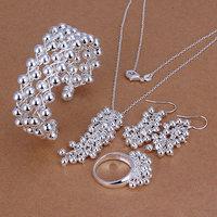PBS277 - Wholesale 925 silver jewelry set, fashion jewelry set Grape Ring Earrings Bangle Necklace Jewelry Set Free shipping