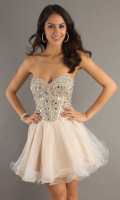 champagne color small short prom dress/evening dress  sexy tube top dress formal