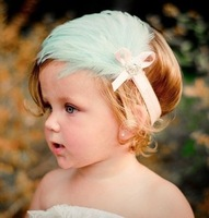 Fashion baby girl child elastic feather hair band large feather hair band princess hair accessory hair accessory